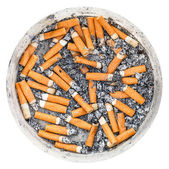 Many cigarette butts in plastic ashpot isolated — Stock Photo