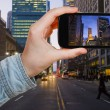 Tourist taking photo of New York City in night — Foto de Stock   #66839091