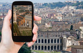 Tourist taking photo of Theatre Marcellus, Rome — Stock Photo