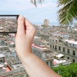Tourist taking photo of old Havana city — Stock Photo #66841445
