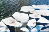 Melting ice floes in river in spring — Stock Photo