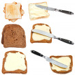 Set of bread toasts with butter isolated — Stock Photo #67990799