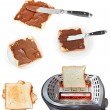 Sweet sandwich - toasts with chocolate spread — Stock Photo #67990825