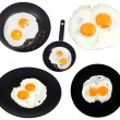 Set from two fried eggs isolated on white — Stock Photo #67990913