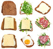 Set of sandwiches from toasted brown bread — Stock Photo