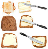 Set of bread toasts with butter isolated — Stock Photo
