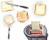 Bread and butter sandwiches and toaster isolated — Stock Photo