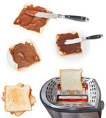 Sweet sandwich - toasts with chocolate spread — Stock Photo