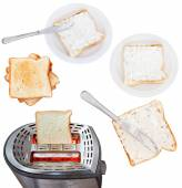 Sandwiches from bread and soft cheese with toaster — Stock Photo