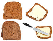 Bread and butter toasts isolated on white — Stock Photo