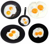 Set from two fried eggs isolated on white — Stock Photo
