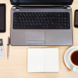 Business still life - top view of working table — Stock Photo #70086601