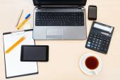 Business still life - top view of office table — Stock Photo
