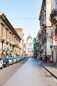 Street and Saint Agatha Cathedral in Catania — Stock Photo
