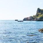 View Ionian Sea near Isola Bella beach in Sicily — Stock Photo #70980557