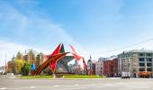 Urban decoration on Lubyanskaya Square in Moscow — Stock Photo