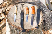 Hunting knives on wooden stump — Stock Photo
