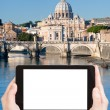 Tourist photographs of bridge on Tiber river, Rome — Stock Photo #73144511