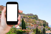 Tourist photographs of Taormina resort city, Italy — Stock Photo