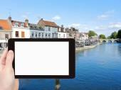 Tourist photographs of Quai Belu in Amiens city — Stock Photo