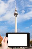 Tourist photographs of tv tower in Berlin — Stock Photo