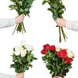 Set of big bunches various rose flowers in hands — Stock Photo #74168505