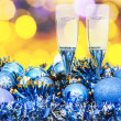 Glasses, blue Xmass balls on blurry background 4 — Stock Photo #78296102