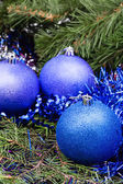 Blue violet Christmas baubles, tinsel, Xmas tree 1 — Stock Photo