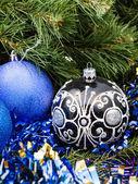 Blue Christmas baubles, tinsel, Xmas tree 4 — Stock Photo