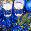 Two glasses with blue Xmas decorations and tree 4 — Stock Photo #79612520