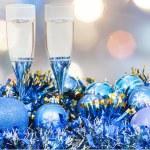 Glasses, blue Xmass balls on blurry background 6 — Stock Photo #79612904