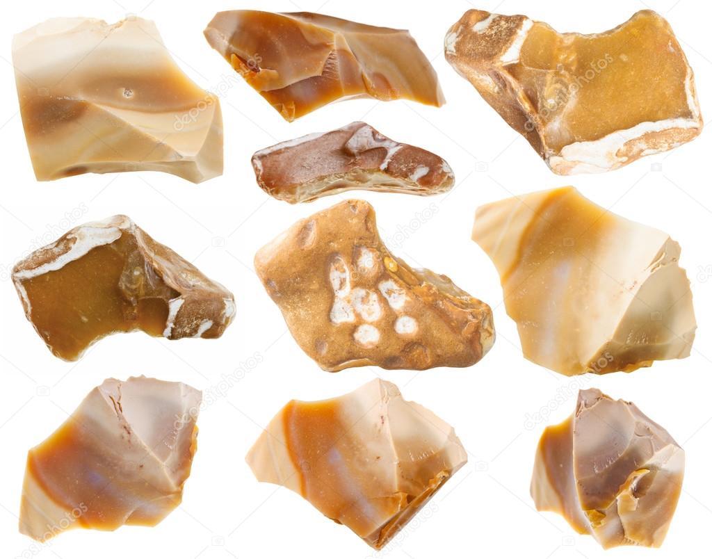 Set di pietre minerali di pietra focaia isolato su bianco for Cabine di roccia bianca
