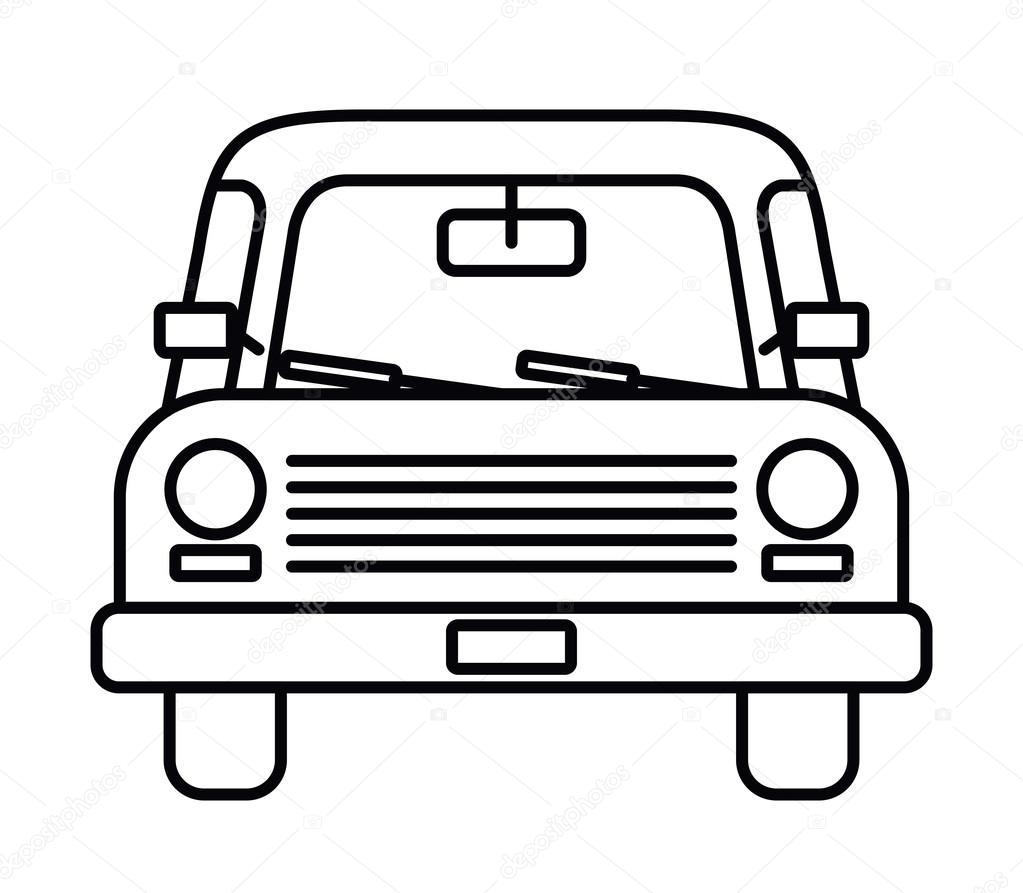 Auto Voorkant Ge 239 Soleerde Pictogram Ontwerp Tekenen