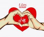 Love heart, desing, vector illustration — Vetor de Stock
