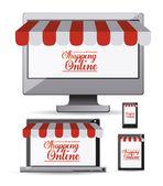 Einkaufen online-design — Stockvektor