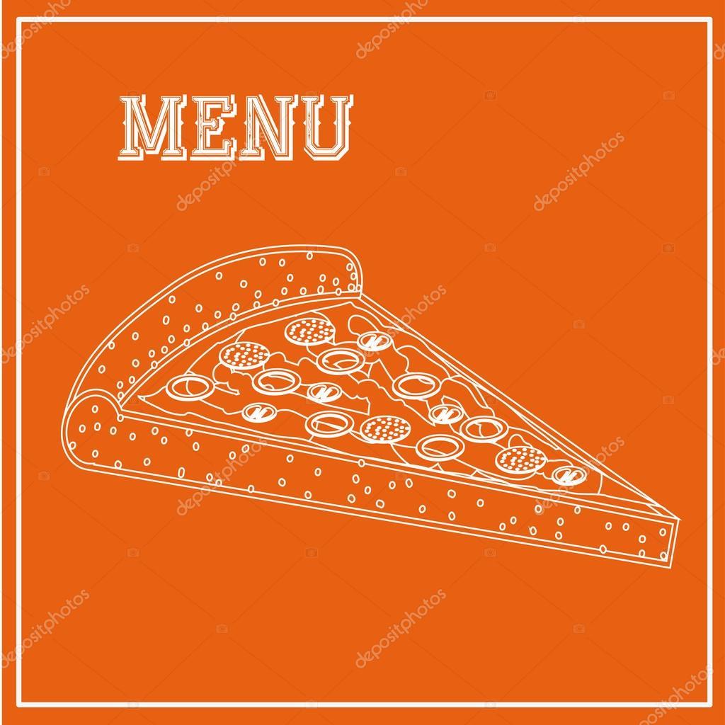 菜单设计在橙色背景矢量图