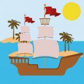 Desenho de barco — Vetor de Stock