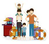 Familjen skulle resa design — Stockvektor