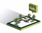 İzometrik ağacı tasarım — Stok Vektör