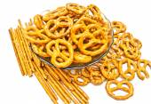 Many breadsticks and pretzels closeup — Stock Photo