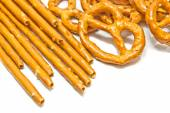 Breadsticks and salted pretzels — Stock Photo