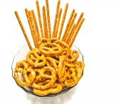 Some tasty pretzels and breadsticks — Stock Photo