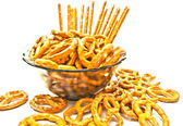 Many pretzels and breadsticks  — Foto Stock