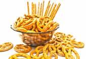 Many pretzels and breadsticks  — Stockfoto