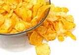 Potato chips in a bowl closeup — Stock Photo