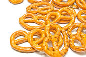 Salted pretzels closeup on white  — Stock Photo