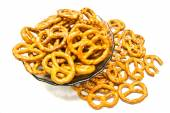 Many salted pretzels closeup — Stock Photo