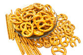 Many breadsticks and pretzels — Stock Photo