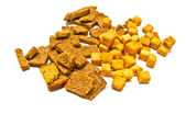 Different tasty crackers closeup — Stock Photo