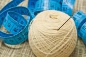 Yarn with needle and meter closeup — Stock Photo